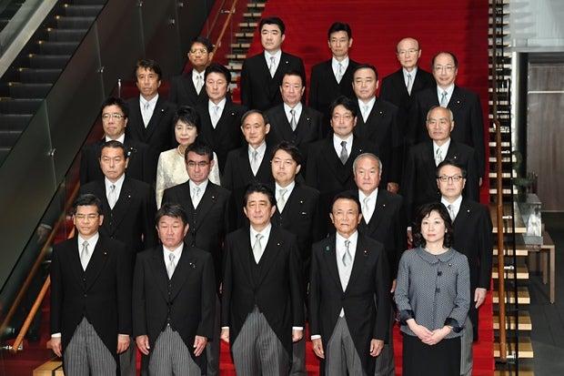 リニューアルされた安倍内閣の面々(C)朝日新聞社