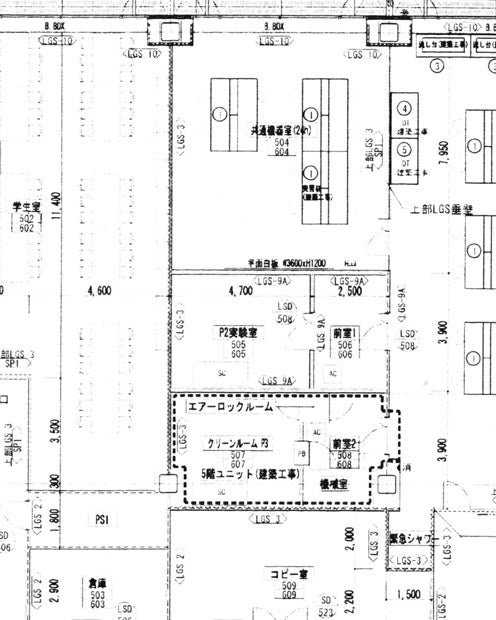 設計図11ページの5階平面図には、建物中央に「エアーロックルーム」「PS2」と記されている部屋がある。これがバイオセーフティーレベル3の施設とみられる。(筆者提供)