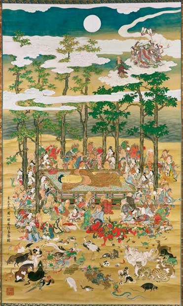 英一蝶≪涅槃図≫Hanabusa Itcho The Death of the Historical Buddha 江戸時代、1713年(正徳3年) 286.8cm×168.5cm 一幅、紙本着色 Fenollosa-Weld Collection, 11.4221 (c)2017 Museum of Fine Arts, Boston