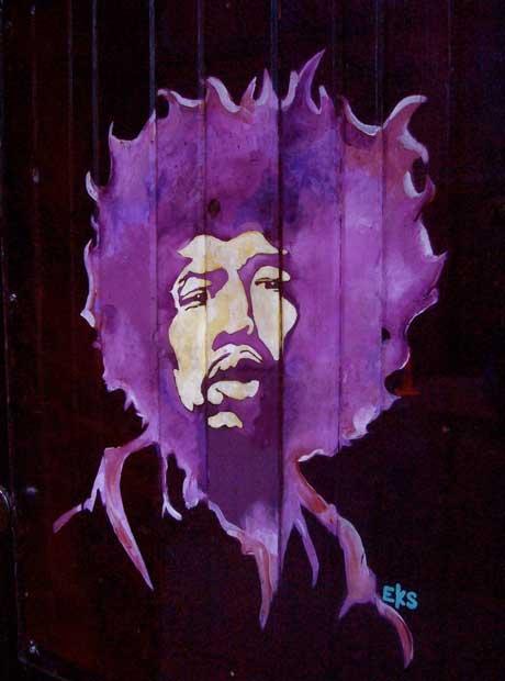 カフェ・ホワ?にあるジミ・ヘンドリックスの壁画(撮影/大友博=2009年)