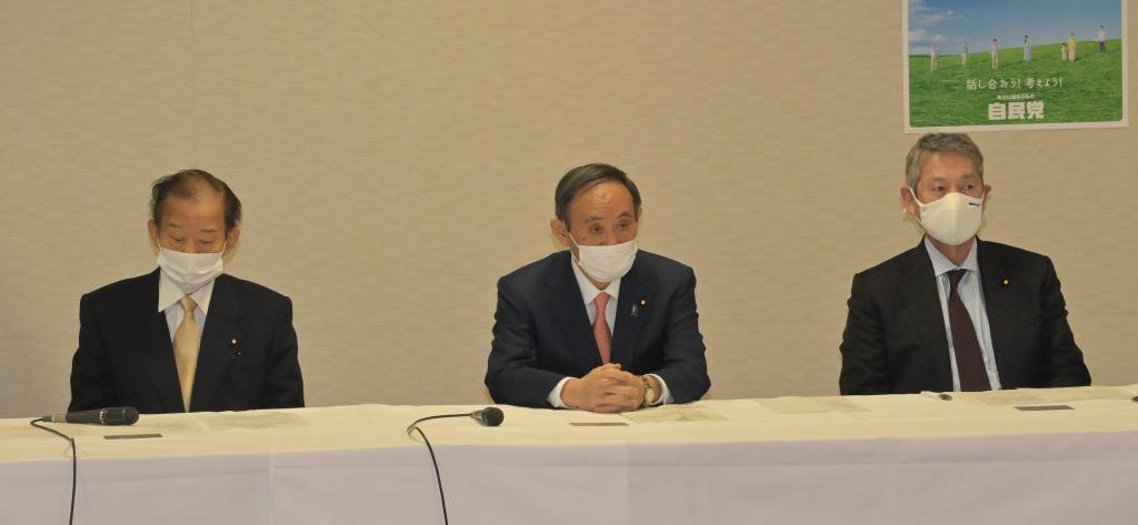 左から二階幹事長と菅首相ら自民党幹部(C)朝日新聞社